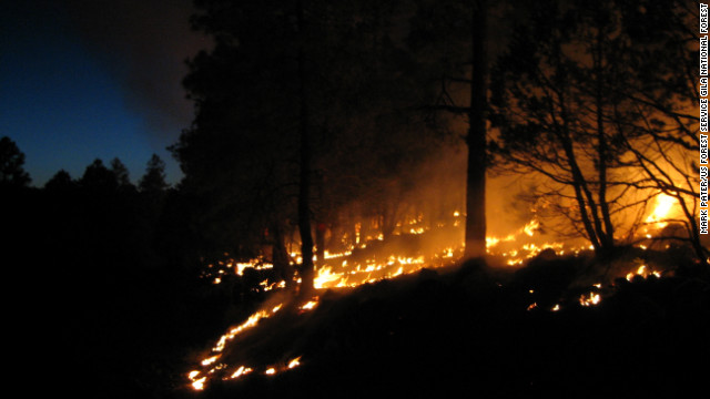 "The U.S. Forest Service performs a ""burnout"" operation to combat the fire raging in the Gila Wilderness."