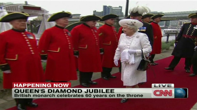 Queen Elizabeth II arrives at the Thames