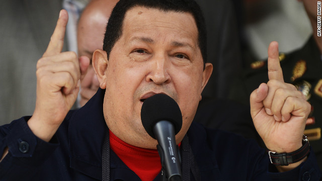 Venezuelan President Hugo Chavez delivers a speech during a visit from Belarus' deputy prime minister in Caracas.