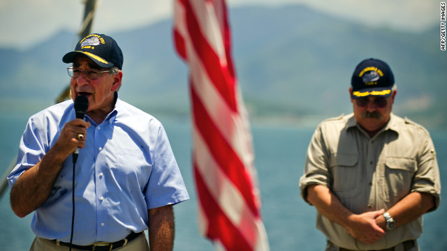 Leon Panetta speaks to the crew of the USNS Richard E. Byrd docked at Vietnam's Cam Ranh Bay on Sunday.