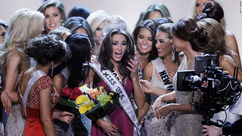 Olivia Culpo, Miss Rhode Island, is surrounded by contestants after winning the 2012 Miss USA pageant in Las Vegas, Nevada, Sunday.