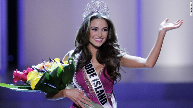 LAS VEGAS, NV - JUNE 3:   Miss Rhode Island USA Olivia Culpo waves to the crowd after winning the 2012 Miss USA pageant at the Planet Hollywood Resort & Casino on June 3, 2012 in Las Vegas, Nevada.  (Photo by Isaac Brekken/Getty Images)