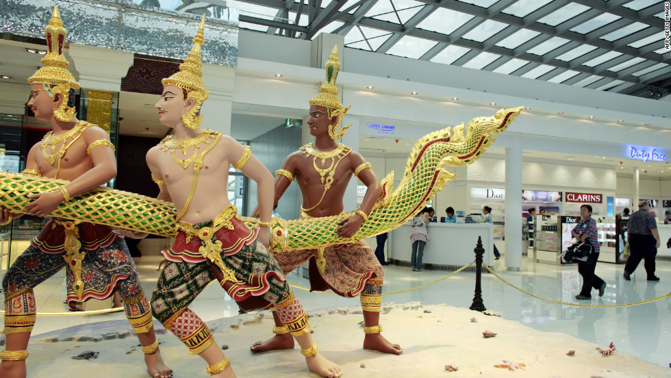 An elaborate Thai sculpture inside the departure area of Bangkok's Suvarnabhumi Airport.