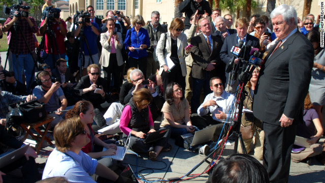 Reporters cover Newt Gingrich in Florida.