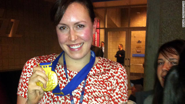 CNN's Rachel Streitfeld got to try on a gold medal.