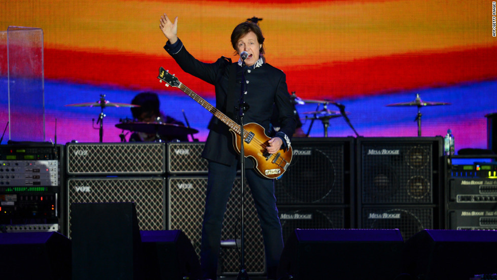"Former Beatles singer Paul McCartney headlines at the queen's diamond jubilee concert. McCartney kicked off his set with ""Magical Mystery Tour."""