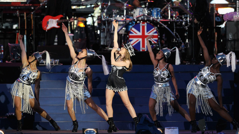 Australian singer Kylie Minogue performs a medley of her hits on stage during the diamond jubilee concert.