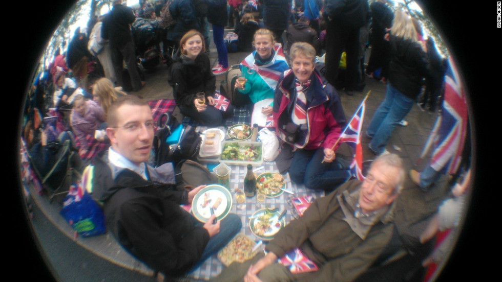Kasialondon sent in this shot to iReport of their Diamond Jubilee celebrations including a jubilee street picnic in London.