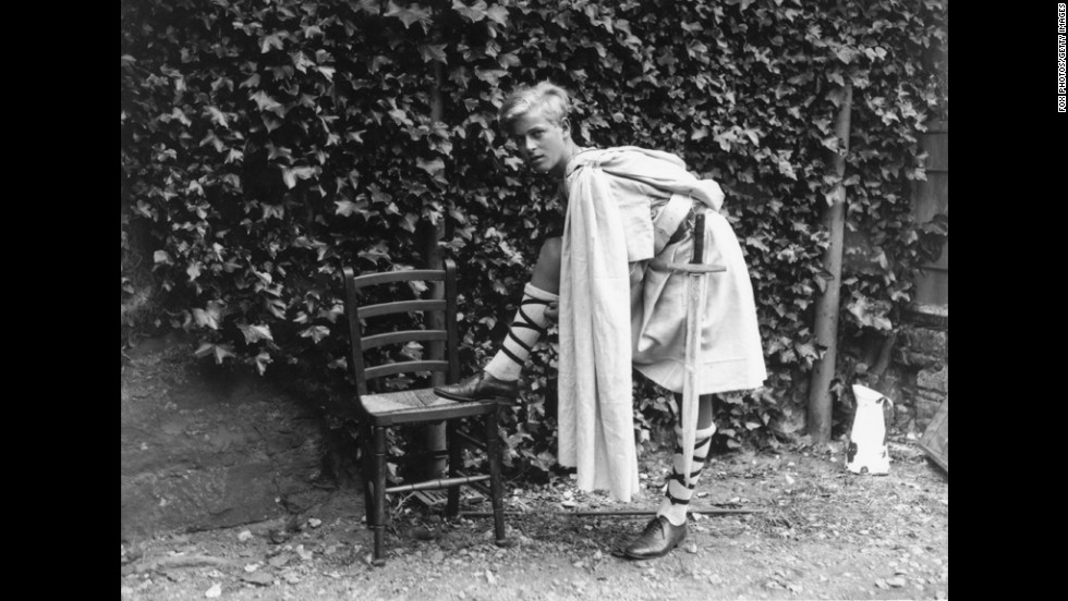 "July 1935:  Prince Philip of Greece in Scotland dressed for the Gordonstoun School's production of ""MacBeth."""