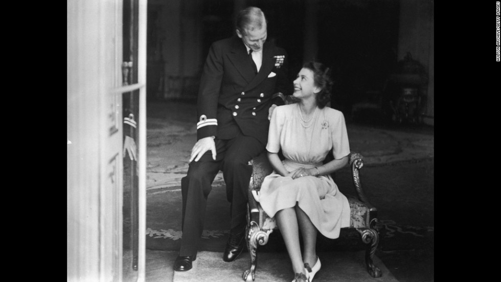 July 1947: Princess Elizabeth and her fiance, Philip Mountbatten, at Buckingham Palace, after their engagement announcement.