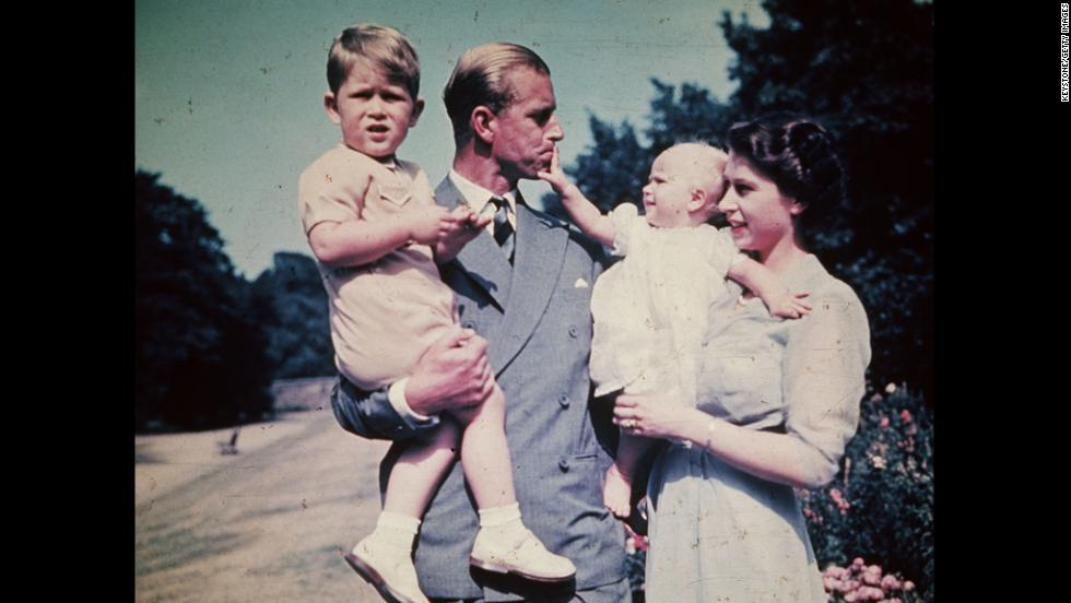 August 1951:  Princess Elizabeth, Prince Philip and their children Prince Charles and Princess Anne.