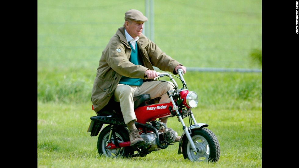 May 13, 2005: The Duke of Edinburgh rides his mini motorbike at the Royal Windsor Horse Show at Home Park, Windsor Castle.
