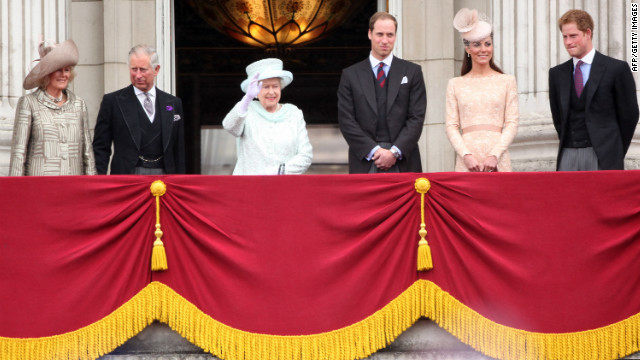 LONDON, ENGLAND - JUNE 05: Camilla, Duchess of Cornwall, Prince Charles, Prince of Wales, Queen Elizabeth II, Prince William, Duke of Cambridge, Catherine, Duchess of Cambridge and Price Harry wave to the crowds from Buckingham Palace during the Diamond Jubilee carriage procession after the service of thanksgiving at St.Paul's Cathedral on the Mall on June 5, 2012 in London, England. For only the second time in its history the UK celebrates the Diamond Jubilee of a monarch. Her Majesty Queen Elizabeth II celebrates the 60th anniversary of her ascension to the throne. Thousands of wellwishers from around the world have flocked to London to witness the spectacle of the weekend's celebrations. (Photo by Dan Kitwood/Getty Images)
