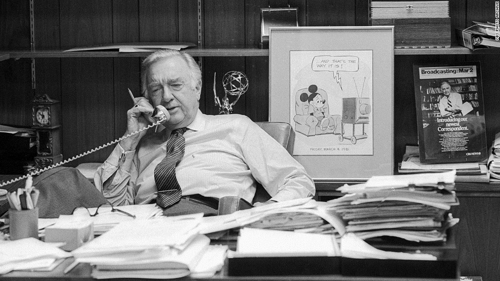 Cronkite takes a phone call in his office on March 6, 1981, the day of his final broadcast as anchor of the CBS Evening News.