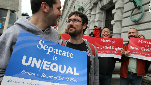 Opponents of Proposition 8 celebrate on February 7 in San Francisco.