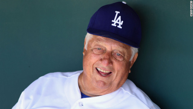Former Dodgers manager Tommy Lasorda suffered a mild heart attack Monday.