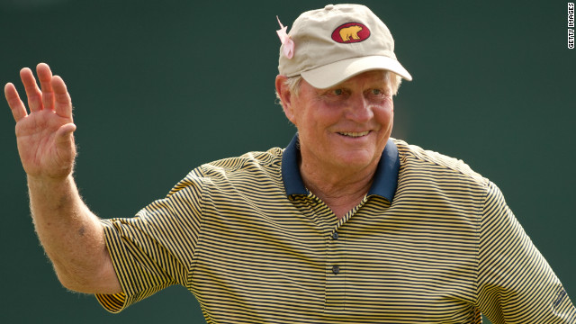 Jack Nicklaus playsacknowledges the gallery at the eighteenth hole during an exhibition round at the the Insperity Championship at The Woodlands Country Club on May 5, 2012 in The Woodlands, Texas