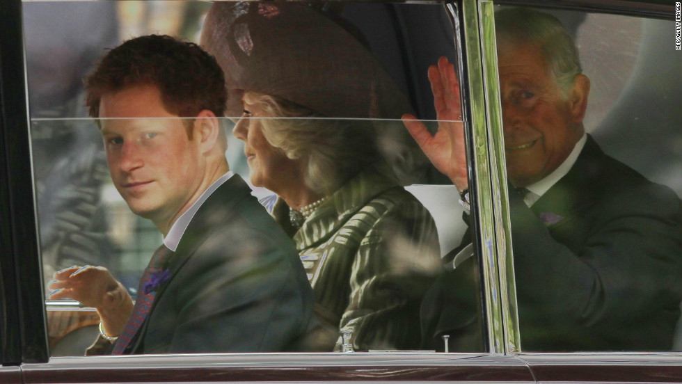 Left to right, Prince Harry, Camilla, Duchess of Cornwall and Prince Charles, Prince of Wales, drive to St. Paul's Cathedral for a thanksgiving service during the Diamond Jubilee on June 5, 2012 in London, England.