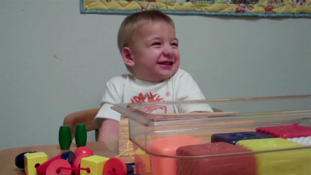 Toddler hears his mom for first time