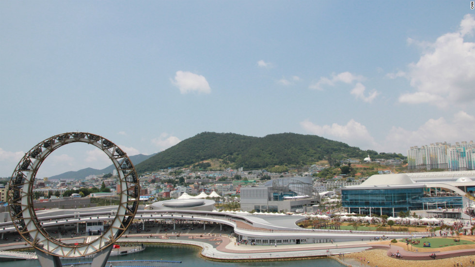 """Korean architecture firm Samoo also designed 10 of the Expo's main buildings in Yeosu. The """"Big-O"""" (left) is part of the nightly entertainment display."""