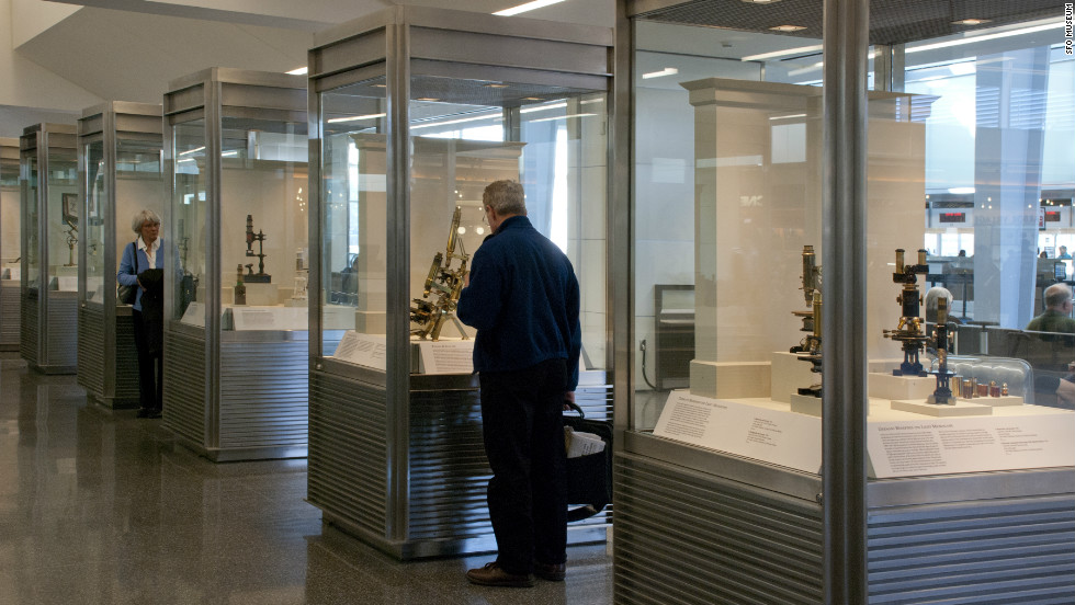 Here, a traveler peers at an exhibit in one of San Francisco International Airport's many museums.