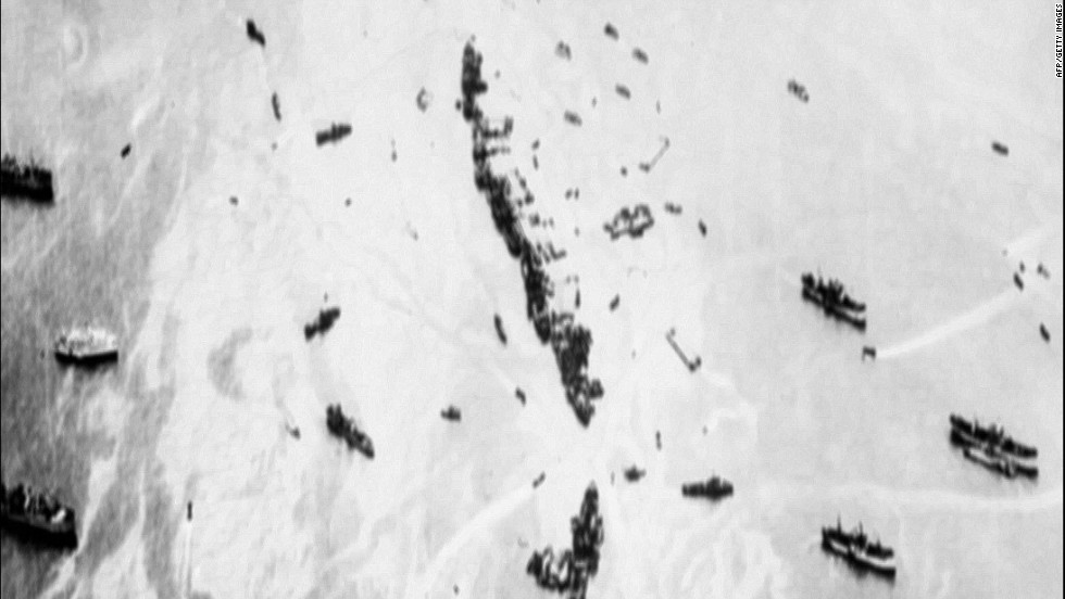 An aerial view shows 32 intentionally sunk American merchant ships that served as a breakwater as well as anti-aircraft platforms.