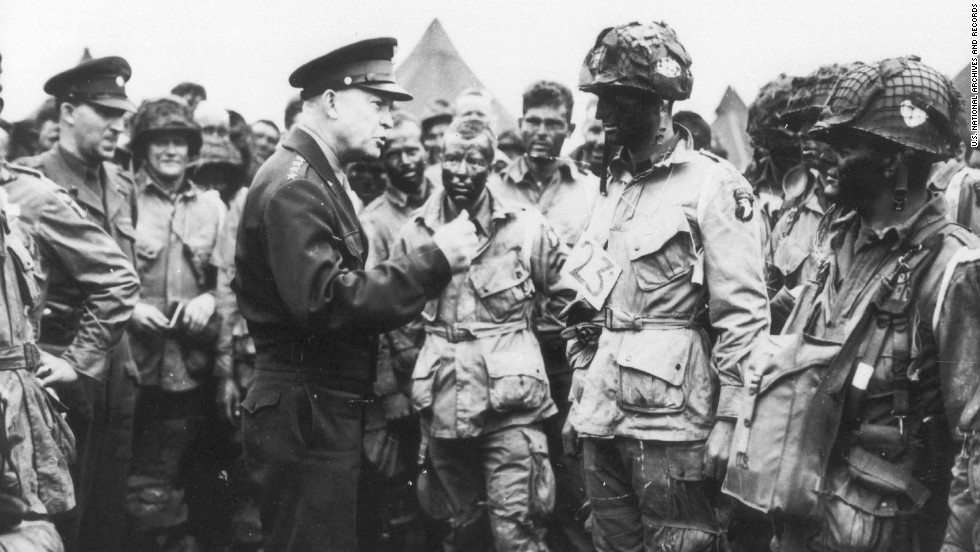 "Eisenhower gives the order of the day to paratroopers in England. ""Full victory -- nothing else"" was the command just before they boarded their planes to participate in the first wave. The invasion -- code-named Operation Overlord -- had been brewing for more than two years."