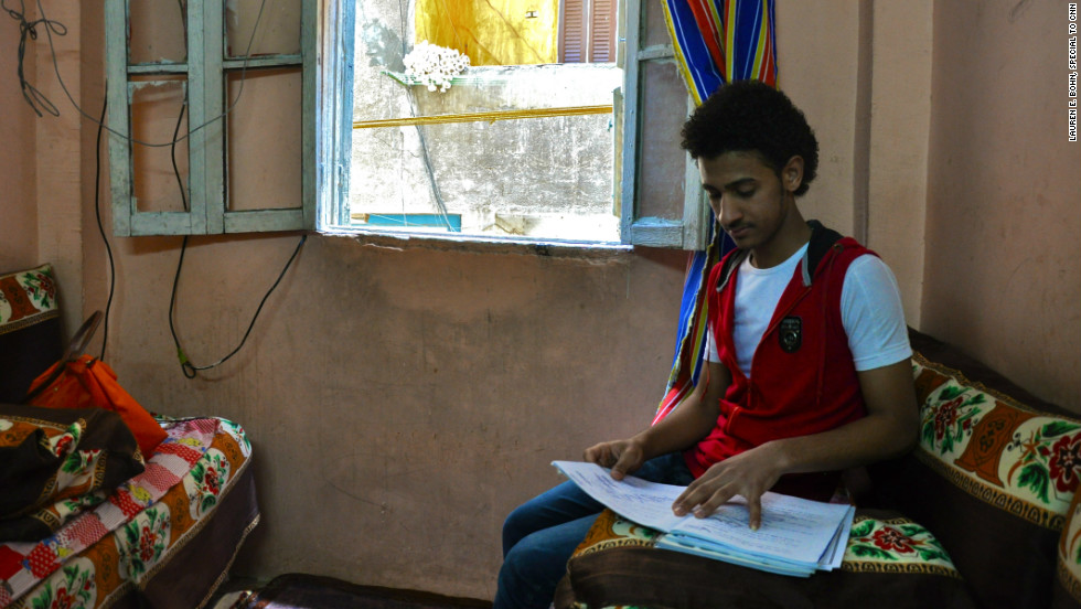 Khaled is studying for Egypt's state examination. It's an exam that could earn him a coveted university spot.