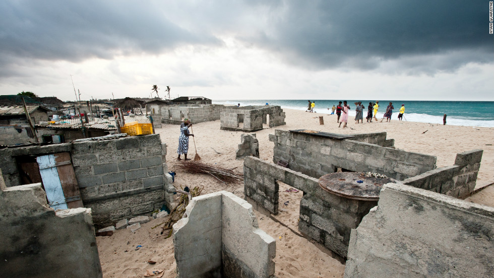 In this photographic series Nyani Quarmyne documents the plight of the people living on the bank of the Volta river where it empties into the South Atlantic in Ghana. Rising sea levels and seasonal storms that pound the coastline mean that people's homes are being lost to sand and water.