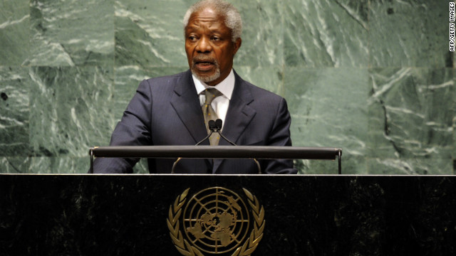 Kofi Annan addresses the U.N. General Assembly on the situation in the Syria on June 7 in New York.