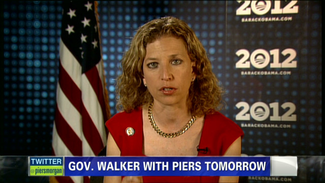 piers morgan debbie wasserman schultz scott walker recall_00011026