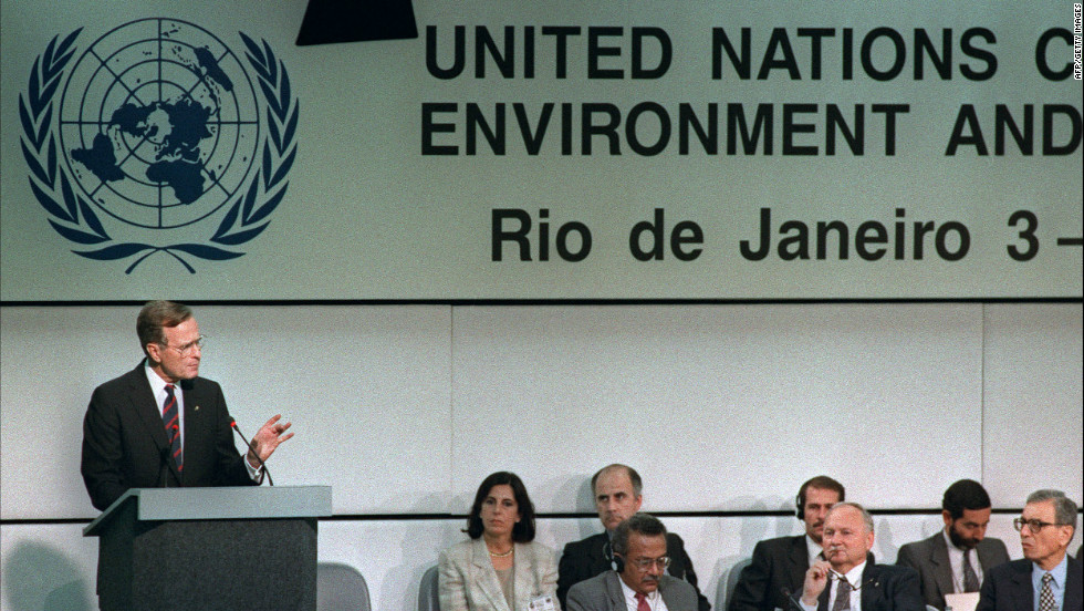 U.S. President George Bush addresses the UN-sponsored Earth Summit in June 1992 in Rio de Janeiro.