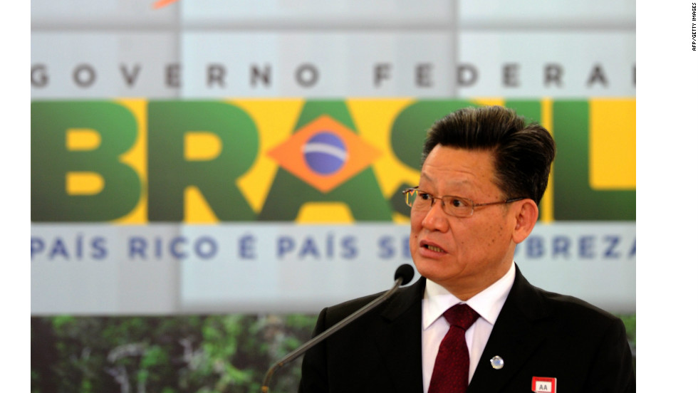 Rio +20 Secretary General Sha Zukang, delivers a speech for World Environment Day in Brasilia, on June 5, 2012.