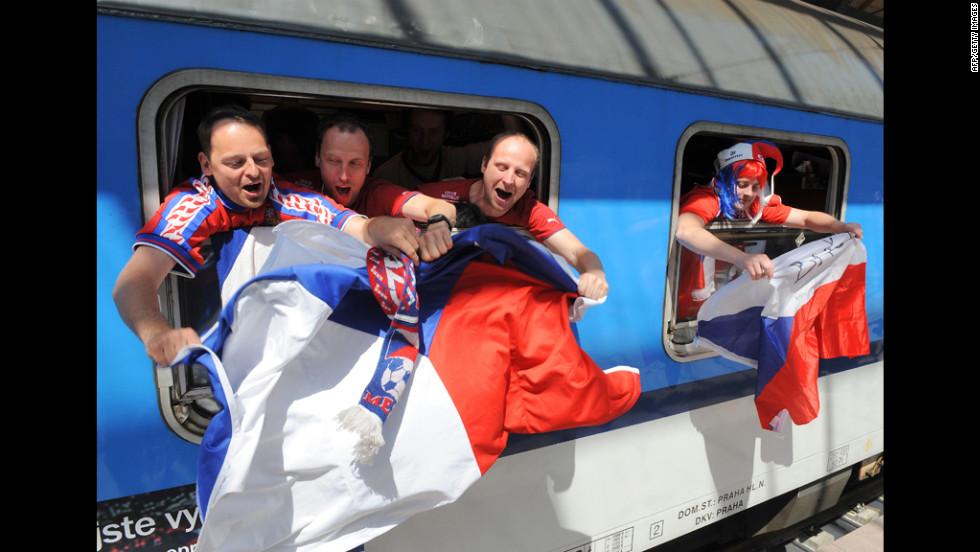 Czech Republic fans cheer a few hours before the opening match.