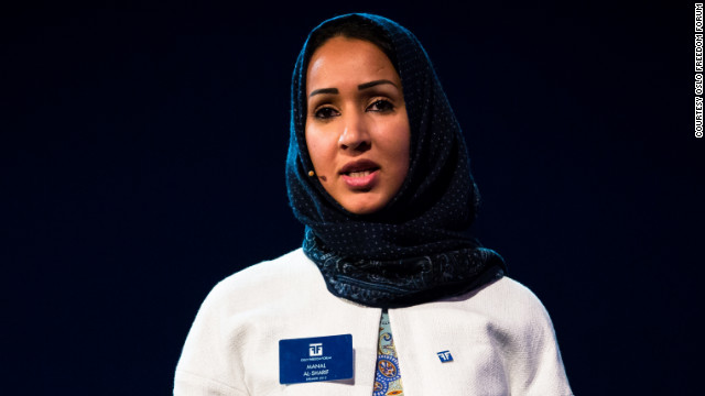 "Manal al-Sharif, honored for ""creative dissent"" at the Oslo Freedom Forum, says she hopes her story will inspire Saudi women."