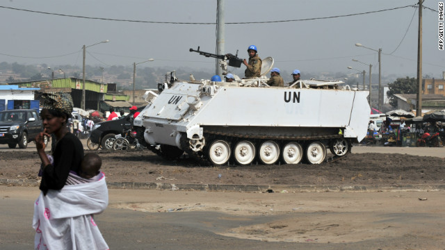 File photo of UN peacekeeping troops in the Ivory Coast securing a street on December 11, 2011.