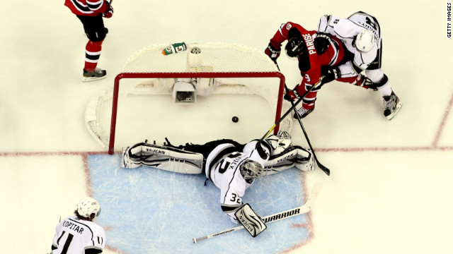 Zach Parise of the New Jersey Devils scores a goal against L.A. Kings goalie Jonathan Quick during Game 6 of the Stanley Cup finals.