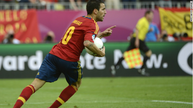 Spanish midfielder Cesc Fabregas celebrates after scoring during the Euro 2012 championships football match Spain vs Italy on June 10, 2012 at the Gdansk Arena. AFP/Getty Images