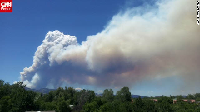 Smoke from the wildfire could be seen near the Colorado State University campus on Saturday.