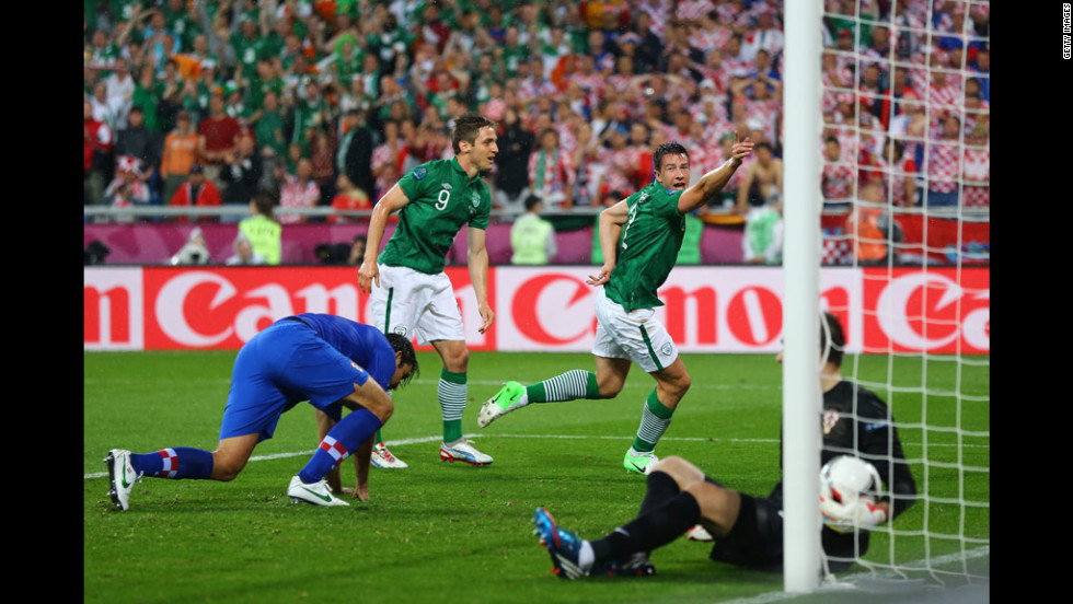 Ireland's Sean St Ledger ties up the game against Croatia.