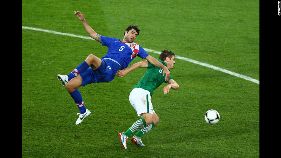 Kevin Doyle of Ireland and Vedran Corluka of Croatia battle for the ball in Poznan, Poland, on Sunday, June 10.