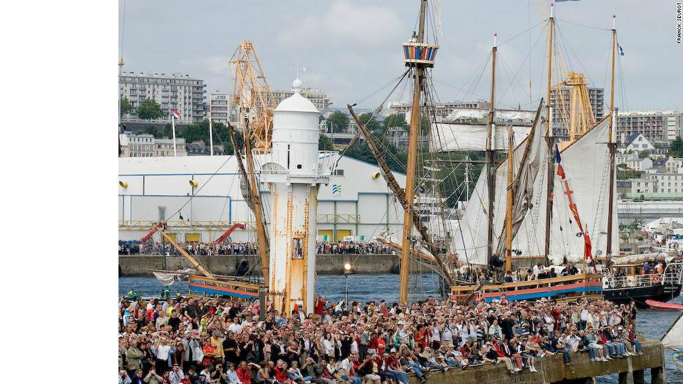 "Every four years, fans of traditional sailing boats from all over the world gather in the French city of Brest for the maritime festival ""Les Tonnerres de Brest""."
