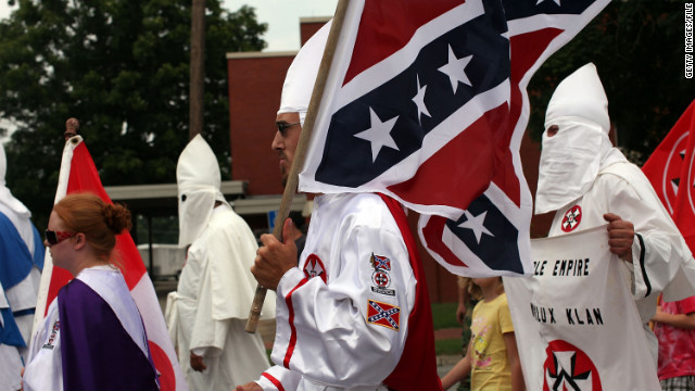 PULASKI, TN - JULY 11: Members of the Fraternal White Knights of the Ku Klux Klan participate in the 11th Annual Nathan Bedford Forrest Birthday march July 11, 2009 in Pulaski, Tennessee.