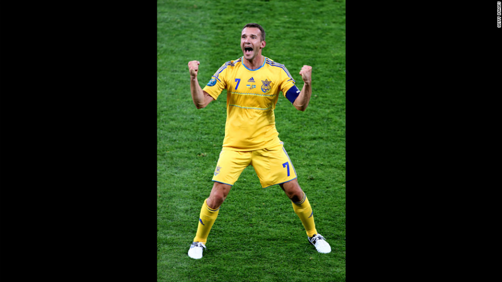 Andriy Shevchenko of Ukraine reacts to scoring the team's second goal during the Group D match against Sweden in Kiev, Ukraine, on Monday, June 11.