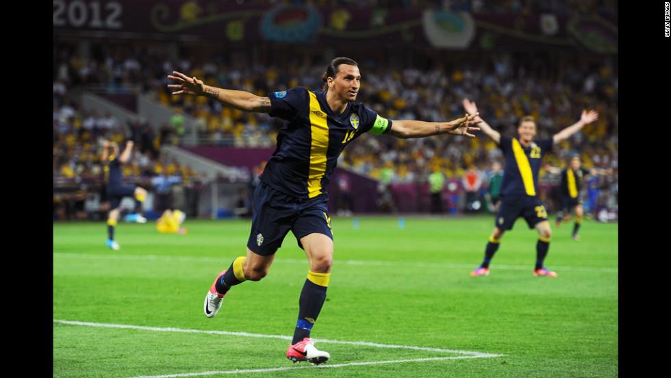 Zlatan Ibrahimovic celebrates scoring Sweden's first goal against Ukraine.