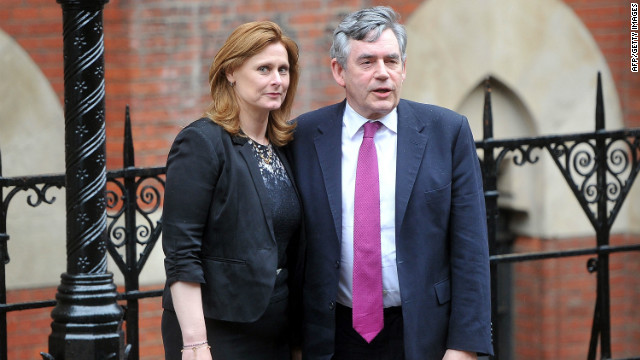 Former Prime Minister Gordon Brown and his wife, Sarah Brown, attend the Leveson Inquiry on Monday in London.