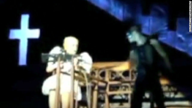 Watch Lady Gaga get hit onstage