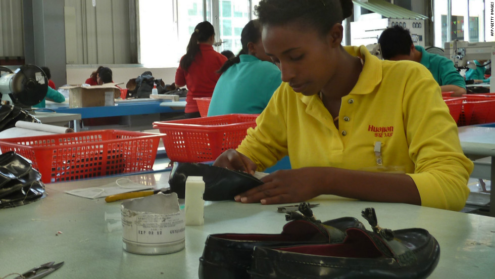The company also sent 86 Ethiopian university graduates to China to train them to make shoes.