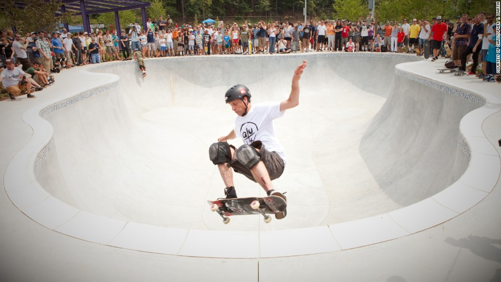 Along the trails, visitors will find a variety of public parks. A skakepark has also been constructed. Famed skater Tony Hawk (pictured) contributed $25,000 to the construction fund.