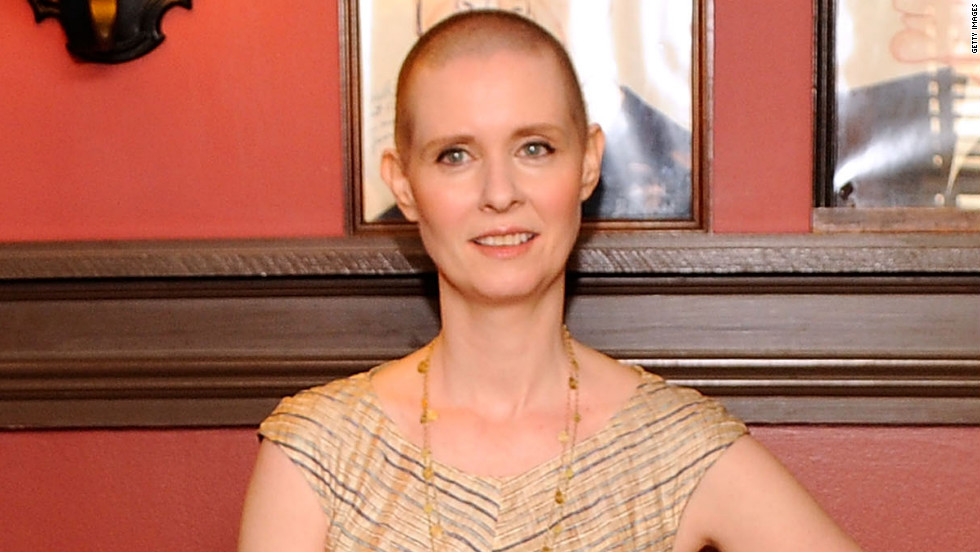 "Cynthia Nixon shaved her head to star in the Broadway production of ""Wit."" Nixon was nominated for a Tony Award for<a href=""http://piersmorgan.blogs.cnn.com/2012/05/07/clips-from-friday-cynthia-nixon-on-her-tony-nominated-role-in-wit-jennifer-love-hewitt-on-her-racy-billboard-ad/"" target=""_blank""> her performance</a> as cancer patient Vivian."
